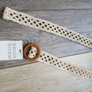 New Zara crochet wooden buckle belt